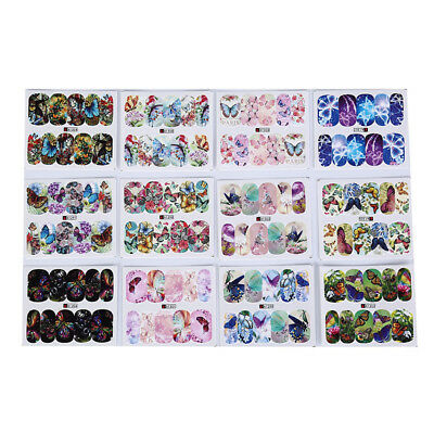 12patterns water decals nail art transfer stickers butterfly manicure decorSC
