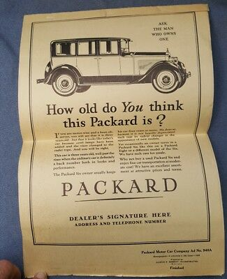 1928 Promotional Booklet Of Packard Ad Copy For Newpaper Advertising Used & New