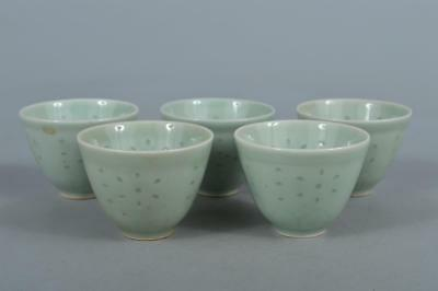 M6558: Chinese Celadon Firefly watermarks sculpture TEA CUP Senchawan 5pcs