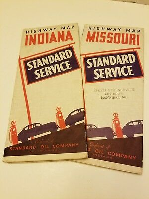 Lot Of 2 1940's Vintage Standard Oil Co. Hwy Maps Of Indiana And Missouri