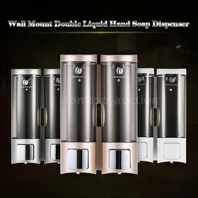 NEW 2X Wall Mount Manual Soap Dispenser Liquid Shampoo Shower Gel Cleanser X4B8