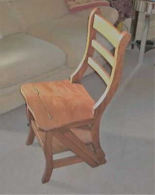 Solid mahogany metamorphic library step- chair