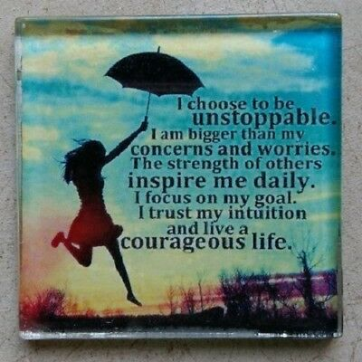 """Glass Mosaic Tile - """"I CHOOSE TO BE UNSTOPPABLE ..."""" ~ Mosaic Inserts, Art, C..."""