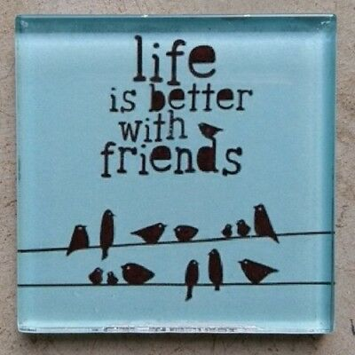 """Glass Mosaic Tile - """"LIFE IS BETTER WITH FRIENDS"""" ~ Mosaic Inserts, Art, Craf..."""
