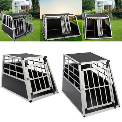 Pet Metallic Crate Dog Transport Box Puppy Kennel Pet Playpen Cage w/Lock Travel