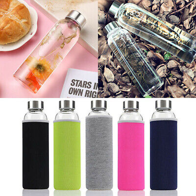 550ML Sport Portable Glass Water Juice Bottle Drinking Lid Cup Mug Color  Cover