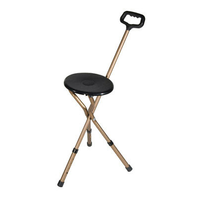 Drive Medical Folding Lightweight Cane Seat, Adjustable Height, Bronze