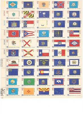 USA -1976 flags in full sheet mint (50)