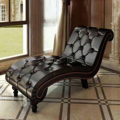 Chaise Lounge chesterfield poltrona marrone a capitonnè M0S5