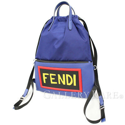 58f778ac0fbb FENDI Backpack Blue Nylon Canvas Calf Leather 7VZ034 Italy Authentic 4764120