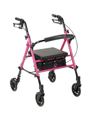 Drive Medical Breast Cancer Awareness Adjustable Height Rollator Rolling