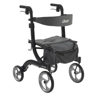 Drive Medical Nitro Euro Style Rollator Rolling Walker, Black