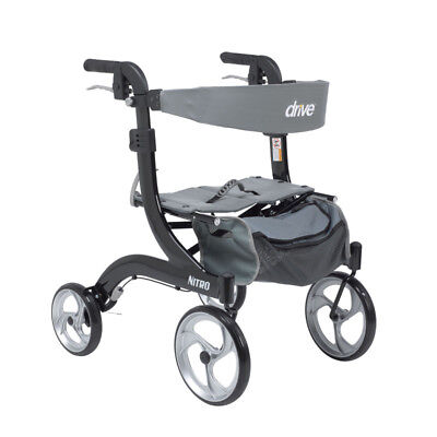 Drive Medical Nitro Euro Style Rollator Rolling Walker, Hemi Height, Black