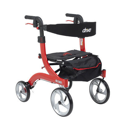 Drive Medical Nitro Euro Style Rollator Rolling Walker, Hemi Height, Red