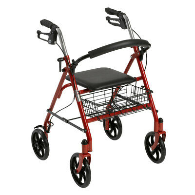 Drive Medical Four Wheel Rollator Rolling Walker with Fold Up Removable Back