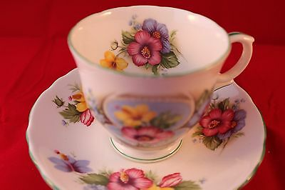 Crown Staffordshire Anniversary Greetings Tea Coffee Cup & Saucer August Retro