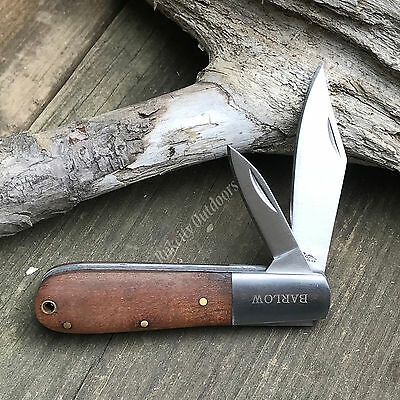 "3 3/8"" Closed Rich Wood Grain Barlow Two Blade Folding Pocket Knife Rite Edge"