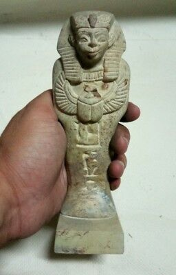 ANCIENT EGYPTIAN ANTIQUE KING USHABTI Statue Stone with Scarab 1784-1695 BC