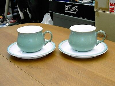 2 x Denby Regency Green Cups & Saucers In Good Clean But Used Con Free UK P&P