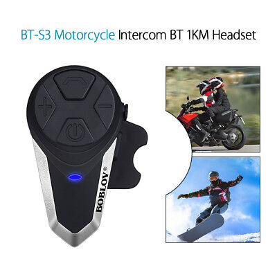 BT-S3 Motorrad Intercom 1000M Headsets Helm FM Radio Wireless Bluetooth Mikrofon