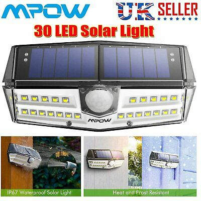 Mpow 30 LED Solar Power Motion Sensor Security Light Super Bright Wall Lamp DW