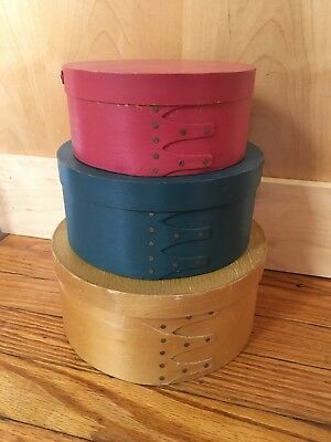 Pretty Set of 3 Shaker Style Light Wood Colorful Boxes Yellow Blue Red REDUCED