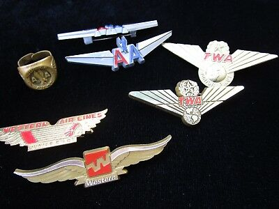Vintage TWA American Western Airlines Junior Pilot Wings Ring Lot of 7