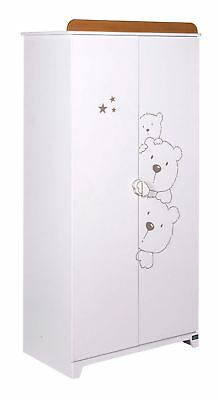 Tutti Bambini BEARS WARDROBE BEECH/WHITE Baby Nursery Furniture BN