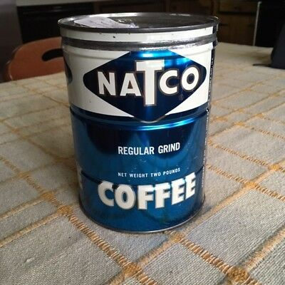 Vintage NATCO BRAND 2 Pound Blue Coffee Can / Tin, Key Wind, 6.75 x 5 inches