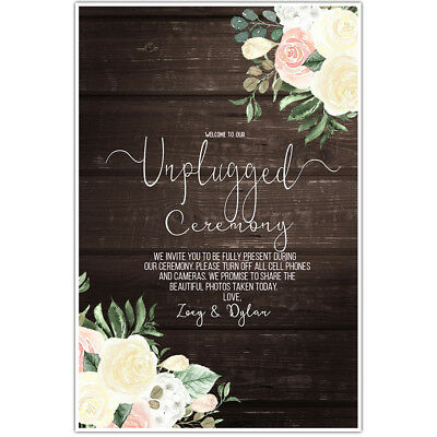 Wood and Flowers Unplugged Wedding Ceremony Sign Poster