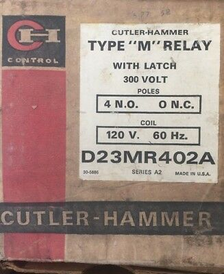 Cutler Hammer D23Mr402A Type M Relay With Latch 300 Volt Coil 120 V 60 Hz