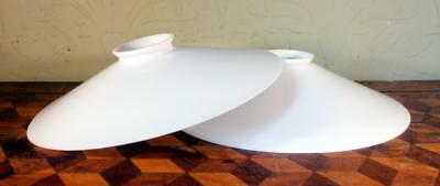 2x FRENCH Vintage Art Deco Flat Milk Glass Coolie Ceiling Lamp Shades Light LOOK