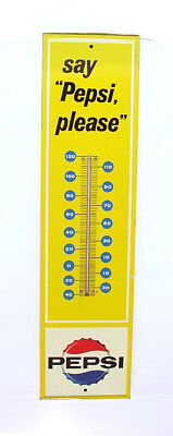1963 Say Pepsi Please Metal Thermometer Sign Aaw P2-194-1 3-63