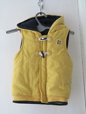 baby boys yellow padded gillet 9-12 months
