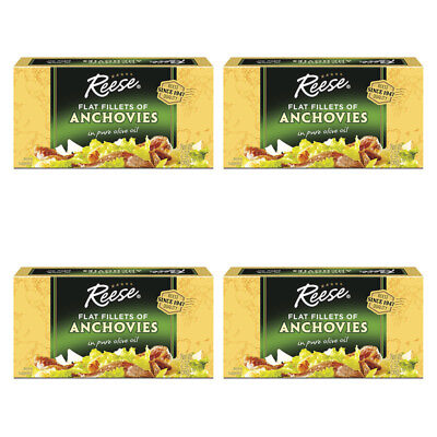 4X Reese Flat Fillets Of Anchovies In Pure Olive Oil Kosher Healthy Delicious