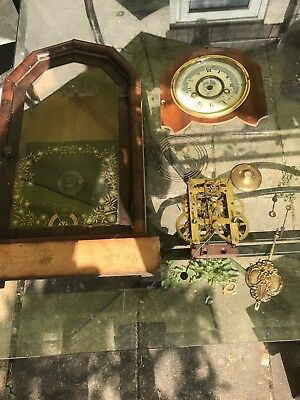 Antique old wooden case American mantle  Clock in bits needs restoring