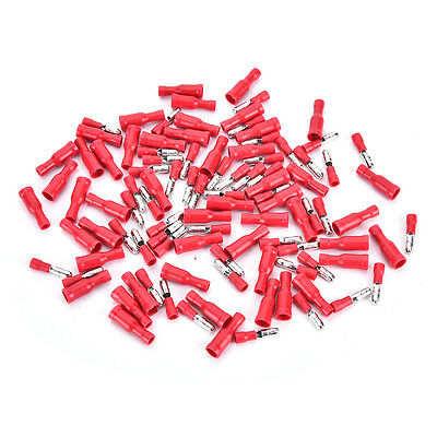 100pcs Red Insulated Female&Male Bullet Butt Connector Wire Crimp Terminals G0