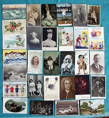 Job Lot Collection 50 X Old Postcards Pre 1945 Mixed Topics - All Shown ~1