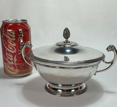 1819-1838 French 950 Sterling Silver Covered Bowl Lion Handles by Galliot & Lyon
