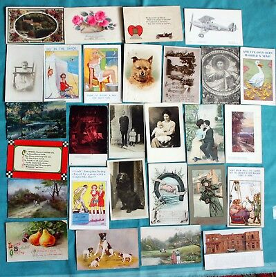 Job Lot Collection 50 X Old Postcards Pre 1945 Mixed Topics - All Shown ~3