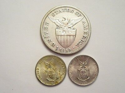 Lot of 3 Philippines Silver Coins, 1918S 50c, 1944D & 1945D 10c