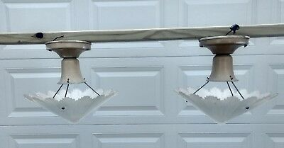 Pair Antique Art Deco architectural Frosted Glass Hanging Lights