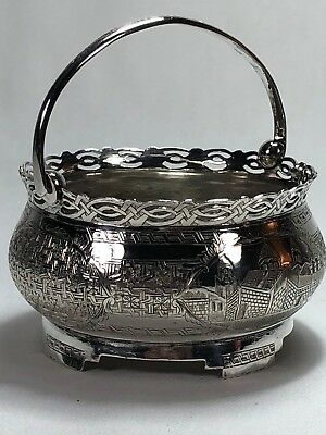 Antique Persian Solid Silver Sugar Bowl Basket Architectural Mosques Engravings