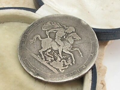 Antique Sterling Silver 925 George III Crown Coin c1819
