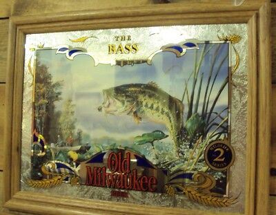 Old Milwaukee Beer Mirror No 2 In Wildlife Series The Bass