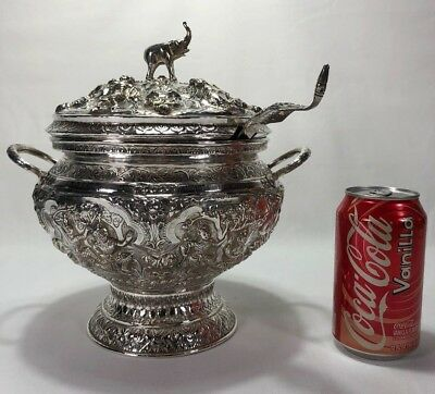 Stunning Antique Chinese Asian Silver Repousse Figural Lidded Rice Bowl w Ladle