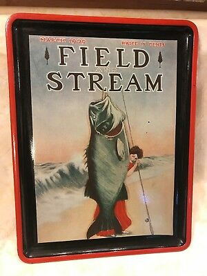 Vtg Tray Field & Stream Mag Cover March 1909  Woman on Beach with Fish