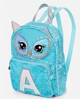 CHOOSE LETTER~NWT JUSTICE Girls Owl Flip Sequin Initial MINI Backpack~Adorable!