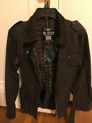 Waxed Jacket Size S/M Barbour Biker Trooper Great Rustic/Brown Slim Fit UK wBelt