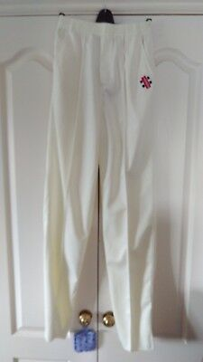 NEW! YOUTH GRAY NICOLLS CRICKET TROUSERS (IVORY) Elasticated & tieable